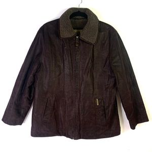 VINTAGE Nickelson leather faux shearling coat